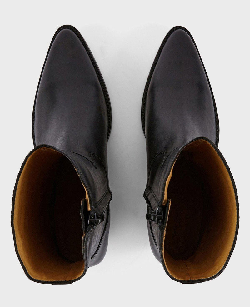 Officine Générale - Billie Box Leather Ankle Boots - Black - Shoes - Boboli Vancouver Canada
