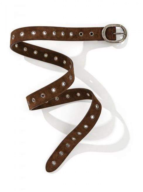 Suede Multi Hole Belt - Brown