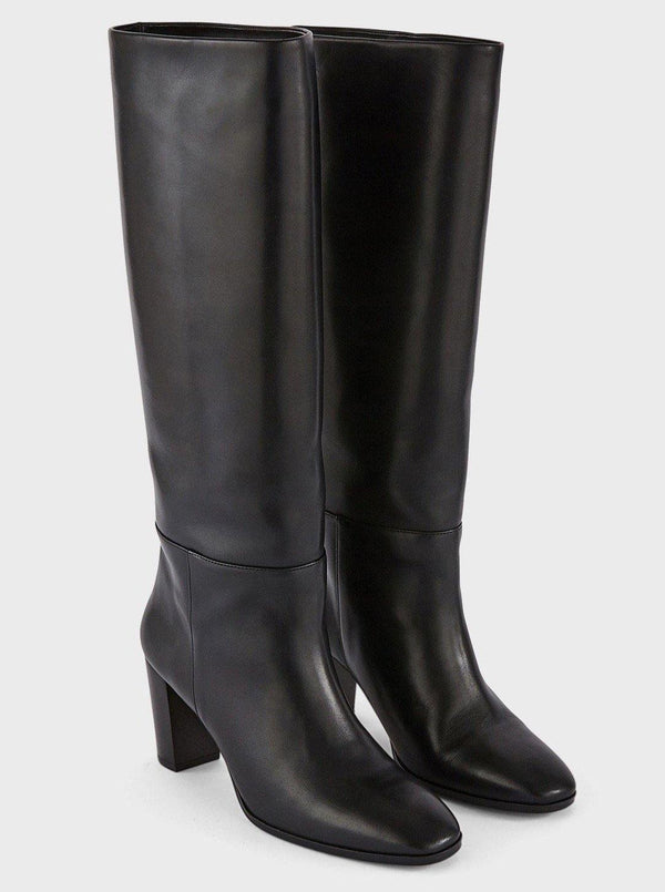 Lou 70's Box Leather Knee High Boots - Black