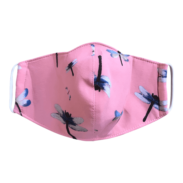 blue dragon fly on peach background adult mask