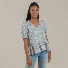 Women's Maddy Blouse - Blue Floral