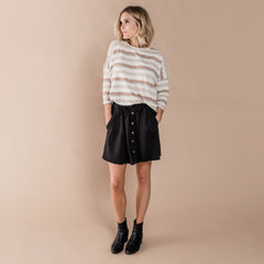 Womens Button Front Mini Skirt