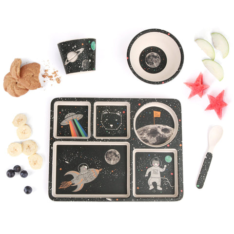 Bamboo Divided Plate Set - Space Adventure
