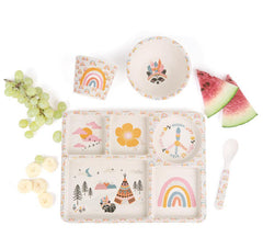 Bamboo Divided Plate Set - Gypsy Girl