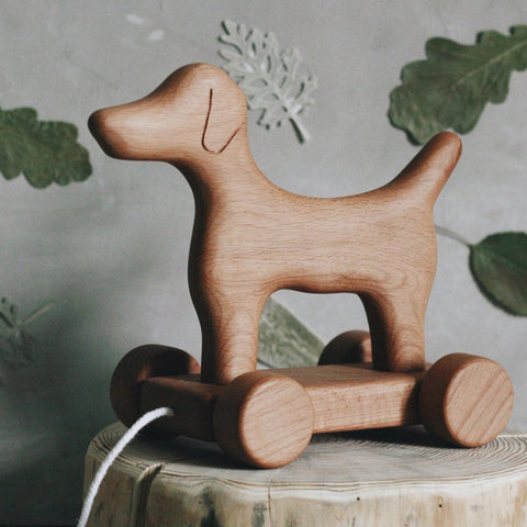 Wooden Pull Along Dog - Marcellus