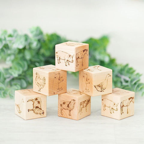 Wooden Blocks - Traditional Farm Animals