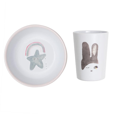Cup & Bowl Set - Rainbow Bunny