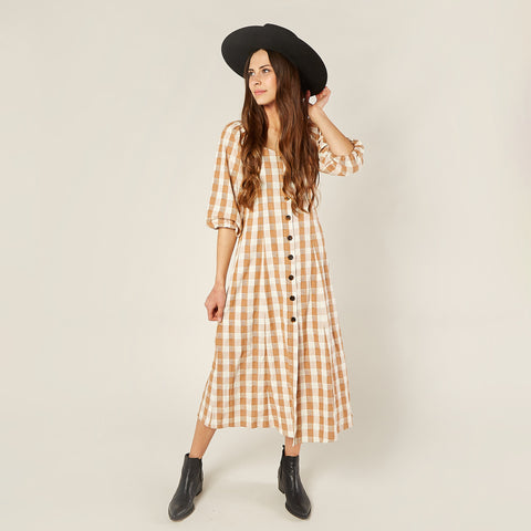 Womens Lily Dress, Cinnamon Check
