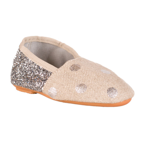 Soft Canvas Slipper - Silver Dots