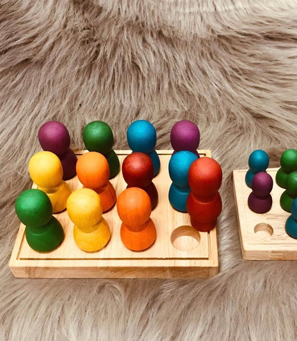 Large Rainbow People in Wooden tray