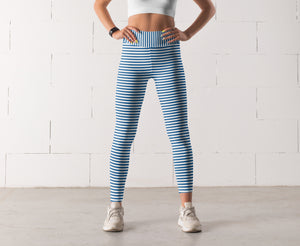 Blue Striped leggings, Capris and Shorts
