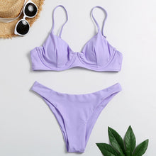 Load image into Gallery viewer, #Z25 2020 Sexy Purple Bikinis Solid Bikini Set White Hot Sale Padded Low Waist Swimsuit Women Swimwear Bandeau Bathing Suits