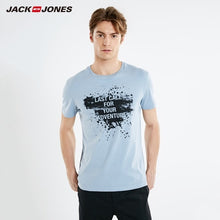 Load image into Gallery viewer, JackJones Men's 100% Cotton Ink Letter Print Straight Fit Round Neckline Short-sleeved T-shirt|Streetwear 219101589