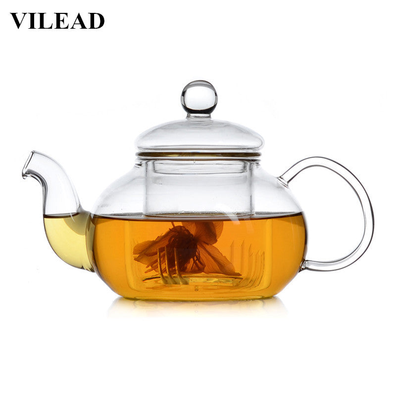 VILEAD Handmade Heat-Resistant Borosilicate Glass Thick Tea Pot Filter Chinese KungFu Tea Teapot Scented Afternoon Tea Accessory