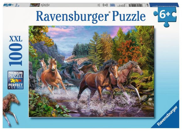 Ravensburger Rushing River Horses 100 pc XXL