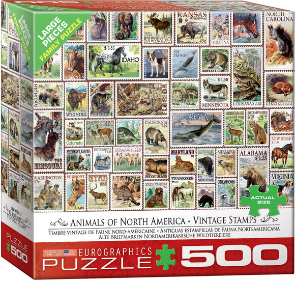 Eurographics Animals of North America Vintage Stamps 500 pc