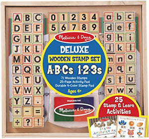 Melissa and Doug Wooden Stamp Set ABC's & 123's