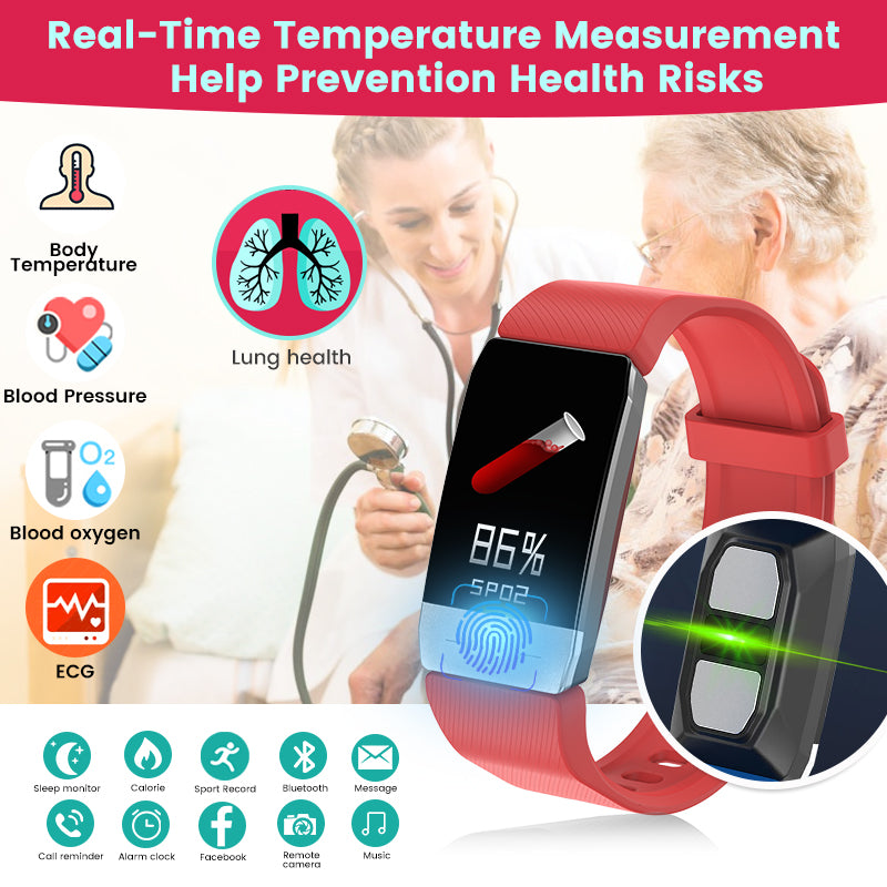 (HOT SALE) Chomomo Body Temperature Immune Fitness Watche  Measure Heart Rate Blood Pressure Monitor Smart Watch For Gift