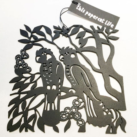 This Papercut Life  Woodcut - Carnaby Cockatoo