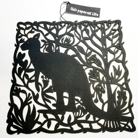 This Papercut - Magpie or Kangaroo with Wildflowers Woodcut
