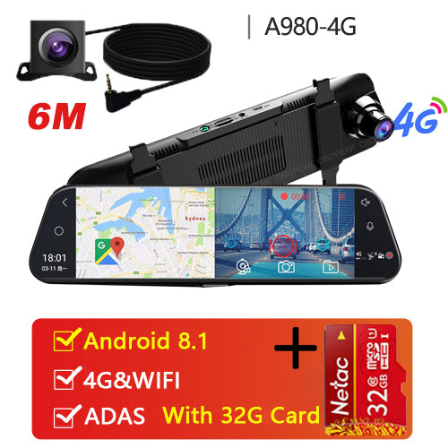 Dual 1080P Stream Media Car Rearview Mirror Bluetooth Camera