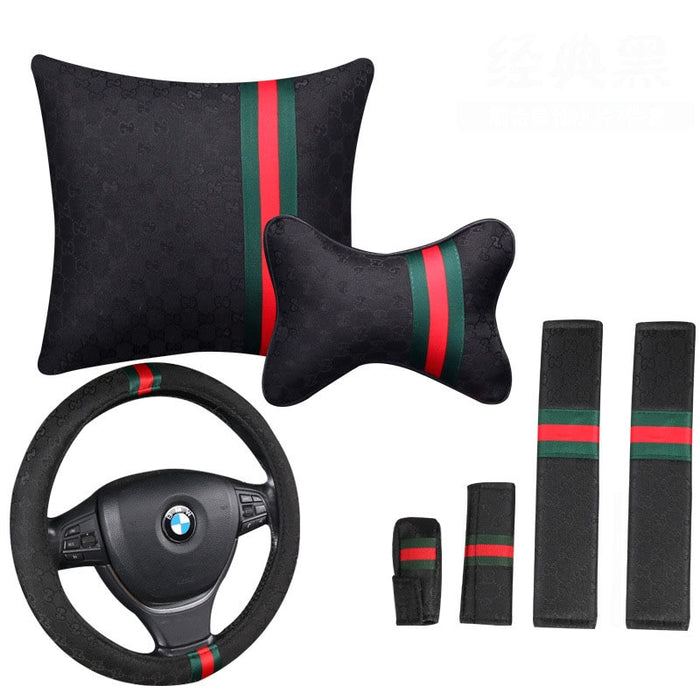 Fashionable Car Steering Wheel Cover 15 inch Lumbar Support Pillow Handbrake Grips