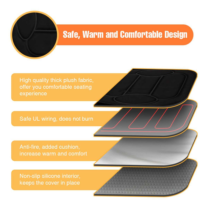 Universal Black 12V Electric Heated Car Front Seat Cushion Cover