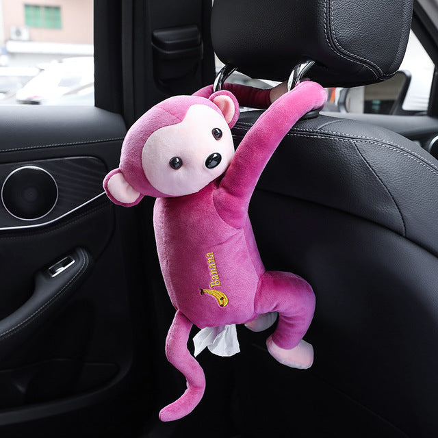 Universal Cartoon Monkey Car Armrest Tissue Box