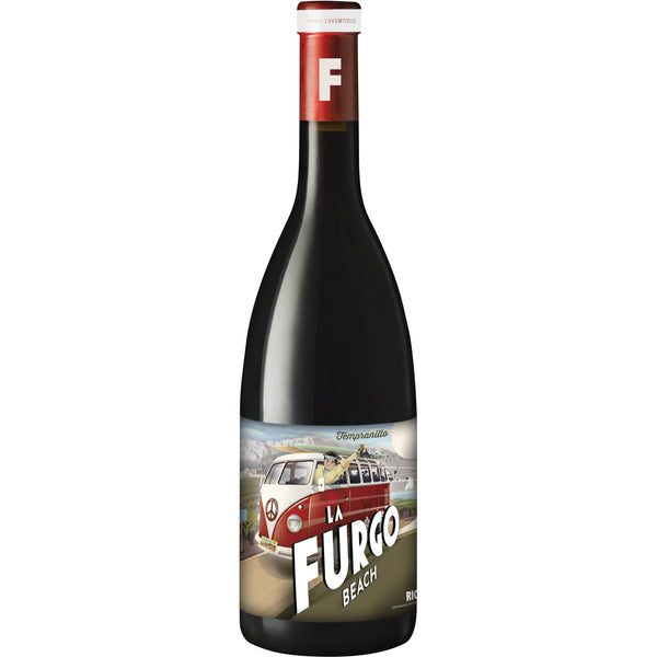 Bottle of La Furgo Beach Rioja Crianza red wine