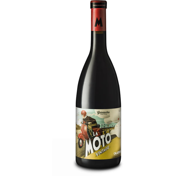 Bottle of La Moto Calatyud Garnacha red wine