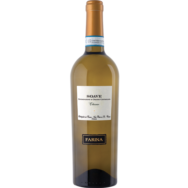 Bottle of Farina Soave Classico DOC white wine