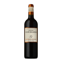 bottle of Chateau Tour Baladoz Saint-Emilion Grand Cru 2015 red Bordeaux wine