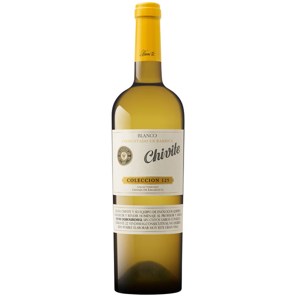 Bottle of Chivite Colección 125 Chardonnay 2016 white wine