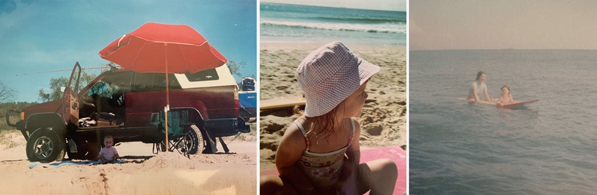 Surfer Tia Coulter in the Sunshine Coast when she was a small girl