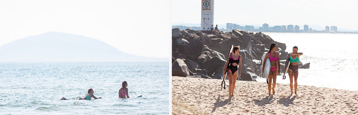 Surfing in Australia with the girls with our Dkoko surf bikinis
