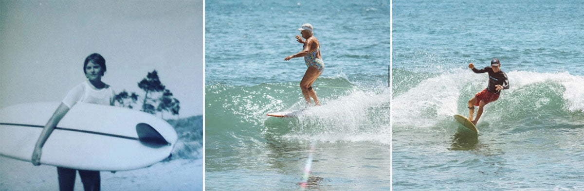 Tia's nanny and granddad surfing at the Bluff