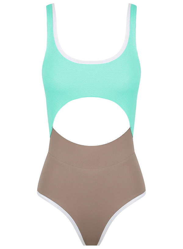 Deep Roots One Piece Surf Bikini in Freshwater/ Earth