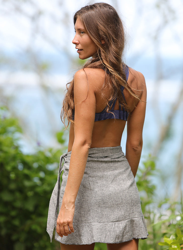 Manzanillo Mini Wrap Skirt Grey