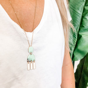 Mint & Ivory Enamel Pendant Necklace