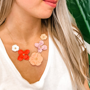 Pastel Magnolia Statement Necklace