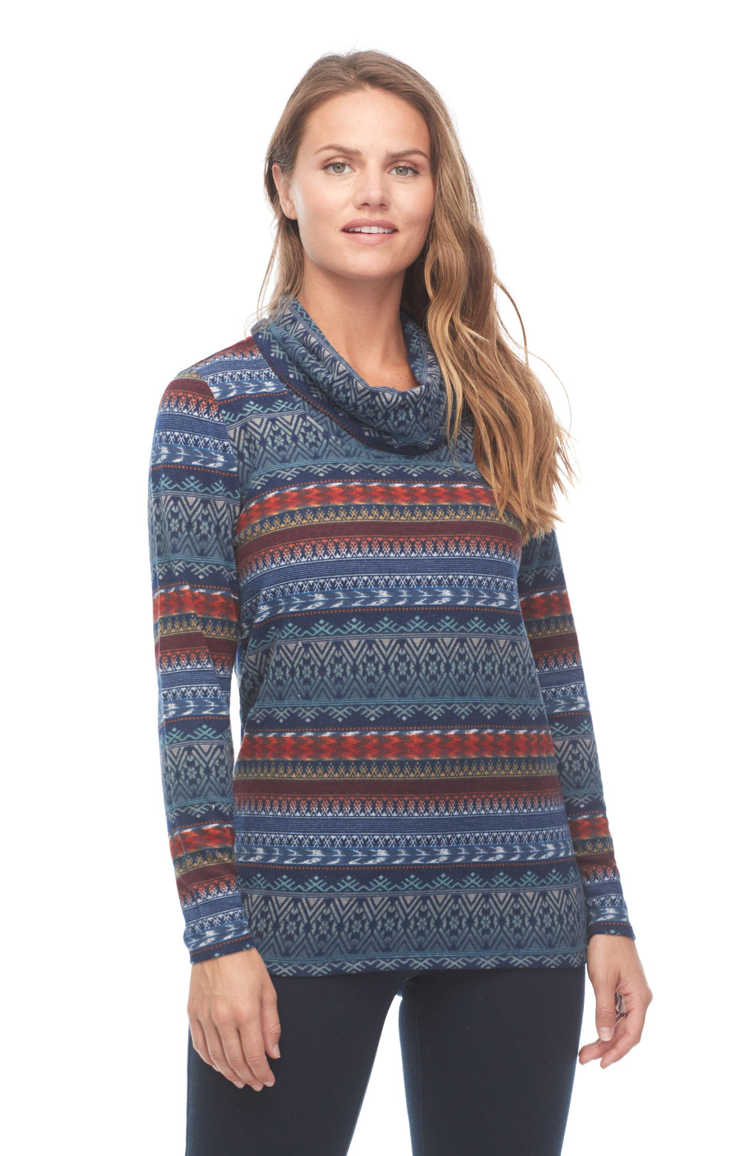 Fairisle Print Funnel Neck Top