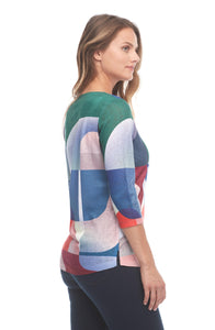 Geo Color Boatneck Top - Elegant Steps