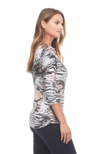 Abstract Animal Print V-Neck