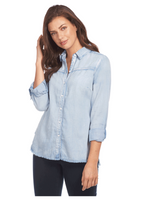 Load image into Gallery viewer, Linen Blend Shirt with Frayed Hem