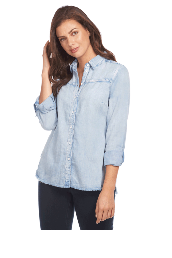 Linen Blend Shirt with Frayed Hem