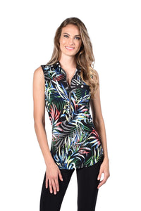 Printed Zipper Sleeveless Top