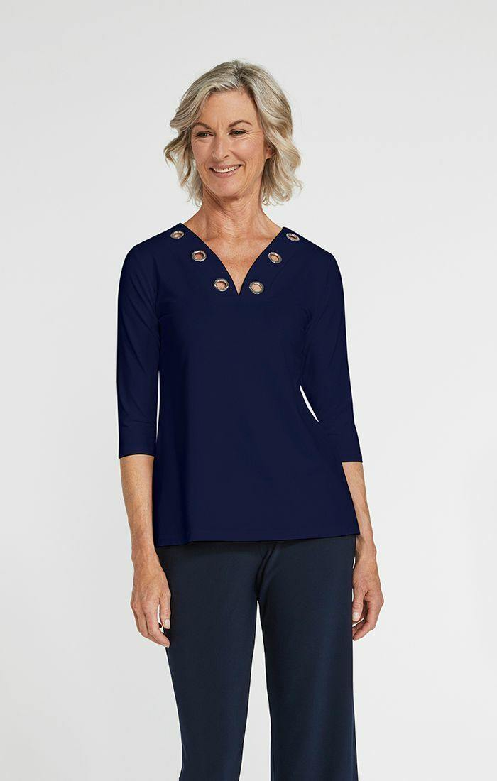 Halo Reversible Top, 3/4 Sleeve - 22235Y-2