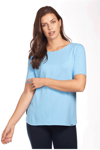 Ballet Neckline Semi Short Sleeve Top