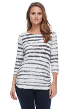 Load image into Gallery viewer, Cloud Stripe Print Boatneck Top