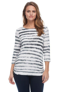 Cloud Stripe Print Boatneck Top